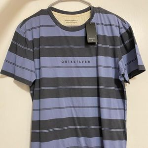 Quicksilver Blue/Black Striped Shirt Large